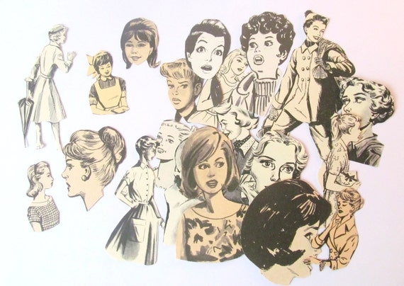 Card making embellishments: 20 black and white vintage paper women for paper craft. Make your own cards, scrapbook, collage. From the UK.