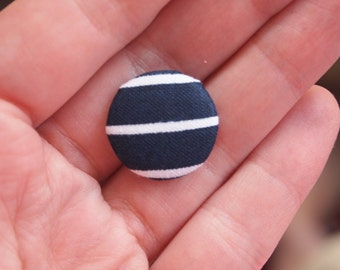 Navy and white striped  fabric covered buttons (size 60, 40, 32, 20, or 18)
