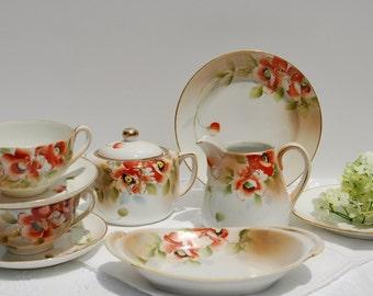 Gorgeous Antique Hand Painted 1911 Nippon Tea Set. Tea Cup Set of 9 pieces. Tea Cup and Saucer Set.Gift Inspiration,Bridal Shower, Tea Party