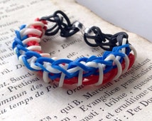 Rainbow Loom Bracelet - Twisty Wisty - Red White and Blue - 4th of July, Patriotic, Gifts Under 10