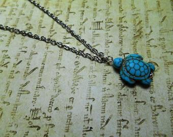 Turtle Charm Turquoise Pendant Necklace