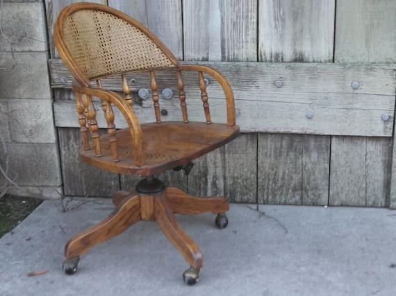 Vintage Oak Rattan Wicker Back Rolling Swivel Desk Office