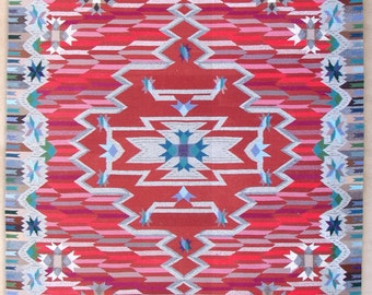 "Carnelian, Lisa Trujillo, Saltillo/Vallero variation, 54""x84"", Chimayo blanket, handwoven wool"