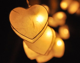35 LED Romantic White Heart Paper Lantern String Lights for Party Wedding and Decorations