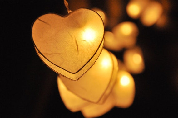 Paper Lantern String Lights Wedding : 35 LED Romantic White Heart Paper Lantern String Lights for