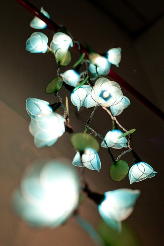 Flower String Lights Nz : 20 Battery Powered LED Handmade Blue Flower String Lights