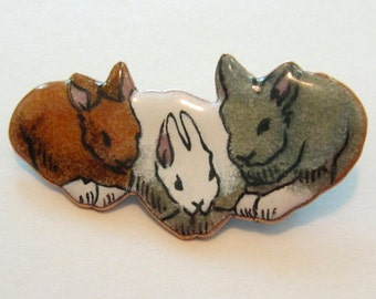 Enamel pin - Enamel on copper pin - Bunny pin - Trio of Bunnies - made to order