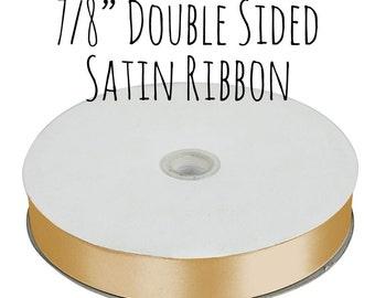 """Gold Ribbon, Gold Satin Ribbon, 7/8"""" Ribbon, Grosgrain Ribbon, Gift Ribbon, Gift Wrapping, Wedding Supplies, Craft Supply"""