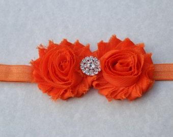 Orange headband, baby girls headband, toddler headband, shabby chic headband, newborn flower girl headband, orange elastic headbands