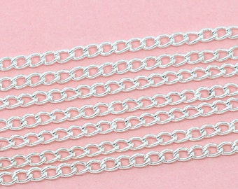 10M Silver Plated Links-Opened Curb Chains  4x3mm, Jewelry Findings, supplies, silver chain