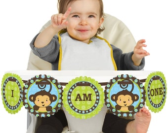 Monkey Boy - 1st Birthday - I Am One - First Birthday High Chair Banner - First Birthday Party Decorations