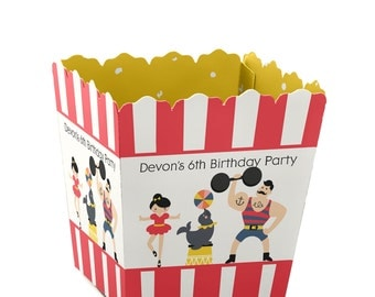 12  Circus / Carnival Custom Small Candy Boxes - Personalized Vintage Circus Baby Shower and Birthday Party Supplies
