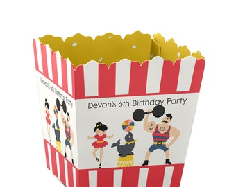 Circus / Carnival Custom Small Candy Boxes - Personalized Vintage Circus Baby Shower and Birthday Party Supplies - Set of 12