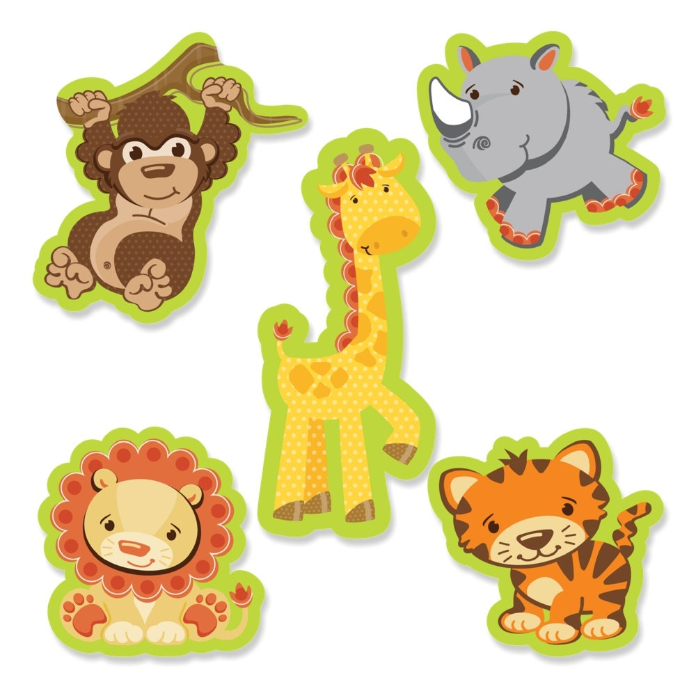 24 pc small safari jungle shaped paper cut outs baby shower for Baby shower decoration cutouts