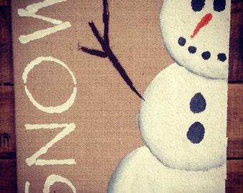8x10 burlap handpainted snowman chrostmas decor