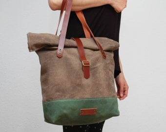 roll top Tote bag waxed canvas, brown/military green color ,with leather handles and closures,hand wax