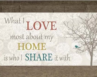 """What I Love Most About My Home Red Blue Decor Print Art Framed Picture 10x16"""""""