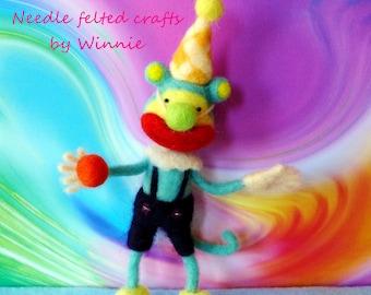 Needle felted clown monkey handmade OOAK