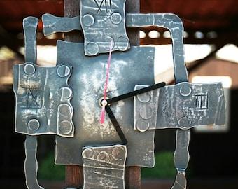 Geometric hand forged metal wall clock