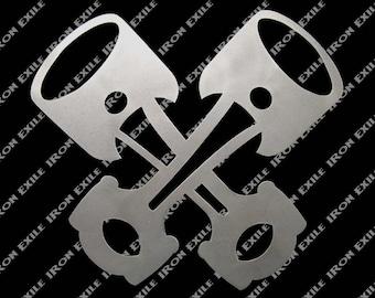 Crossed Pistons Hot Rod Metal Garage Wall Art
