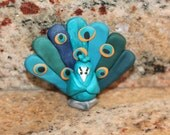 Theodore the Peacock, polymer clay miniature animal, exotic bird figurine, Wild Bird Bunch, pocket totem, small sculpture, teal, blue,orange