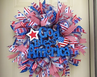 God Bless America 4th of July Patriotic Red, White and Blue Indoor Outdoor Deco Mesh Wreath!