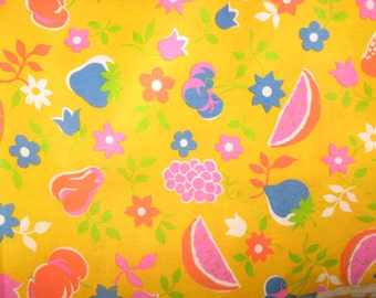 Fruit Fabric, 100% Cotton Fabric ,Bright Yellow Fabric, Orange, Blue, Green Fruit Fabric ,NOS ,42 Inches Wide 3 Yards