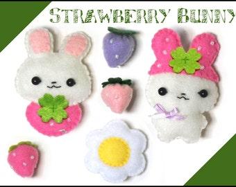 Felt doll - Strawberry Bunny Set - PDF Pattern