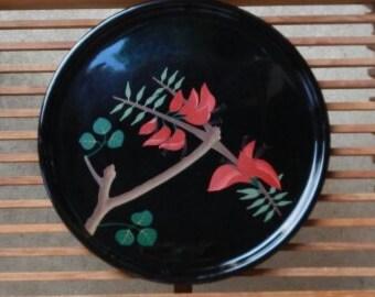Vintage Black Lacquer Tray with Unique Handpainted Design!