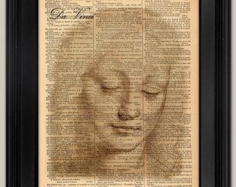 "Da Vinci Drawing of Girl print. Vintage book page art print. Print on book page.  Fits 8""x10"" frame."