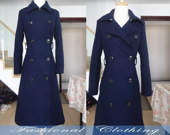 blue coat wool coat winter coat warm coat women clothing women coat long sleeve coat long jacket outerwear dress long coat slim fit