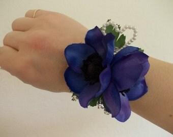 Blue/Purple Anemone Wrist Corsage