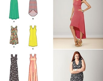 Misses' Knit Dresses with Length and Neckline Variations Simplicity Pattern 1358