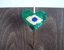 Brazil Flag Headband - Patriotic Headband - Sequin Headband