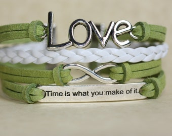 CELIAC Disease Awareness ~BALANCE~ Time Is What You Make Of It Charm Lime Green Leather Multilayer Handcrafted Bracelet ilovecheesygrits