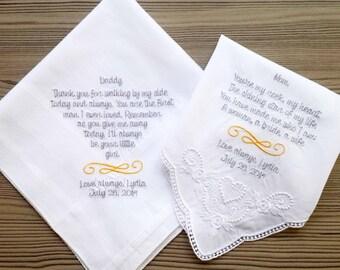 Personalised wedding handkerchief! Custom embroidered wedding hankie ! To  dry happy