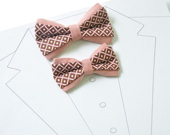 Wedding Set for Father and Son. Brown Bow ties for Dad and Son. Salmon Red Pastel bow tie