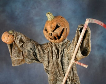 Halloween Pumpkin Scarecrow by TC Folk Originals