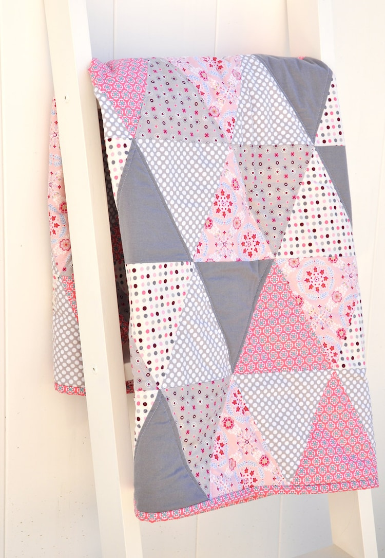 Baby Girl Quilt Pink And Gray Quilt Triangle Quilt By
