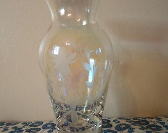 Vintage Irridescent Glass Vase-Etched