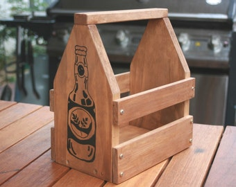 Christmas - Beer - Timber Beer Crate and Carrier - Small bottles -  Husband - Boyfriend - Man - Dad - Uncle - Brother - Wedding