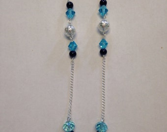 Necklace with Blue and Silver Beads - Homemade Jewelry - Homemade Necklace - Dangle Necklace - Blue Beads