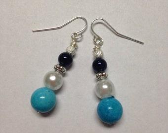 Homemade Dangle Earrings with Pearls and Blue Beads - Pearl Earrings - Homemade Earrings - Homemade Jewelry - Dangle Earrings