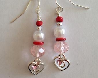 Heart Charm Dangle Earrings - Pearl Earrings - Heart Earrings - Homemade Earrings - Homemade Jewelry