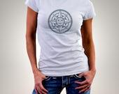 "Organic Women T Shirt "" compass sun "" - french handmade -"