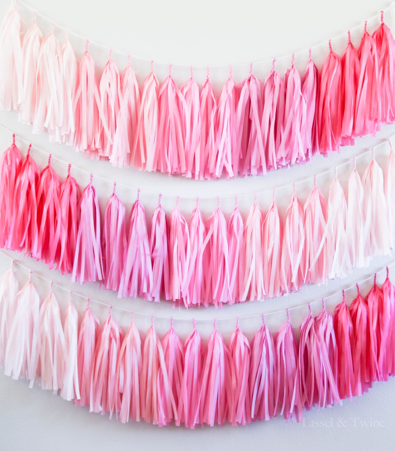 PINK OMBRE Tassel Garland Party Decoration // Wedding Decor