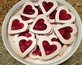 9 Heart Sugar Cookie Sandwiches with Raspberry Jam Filling.  Linzer Tarts.  Valentine's Day Gift. Skinny Sweet Treats. - BikiniFriendlyBakery