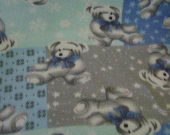 Gray Teddy Bear Fleece  Baby Blanket