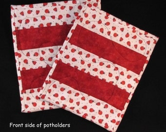 Quilted Hot Potholders-Red & Ladybugs