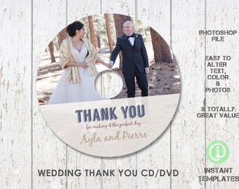 Wedding Thank You CD DVD Template,  Photoshop CD Template - CDW001